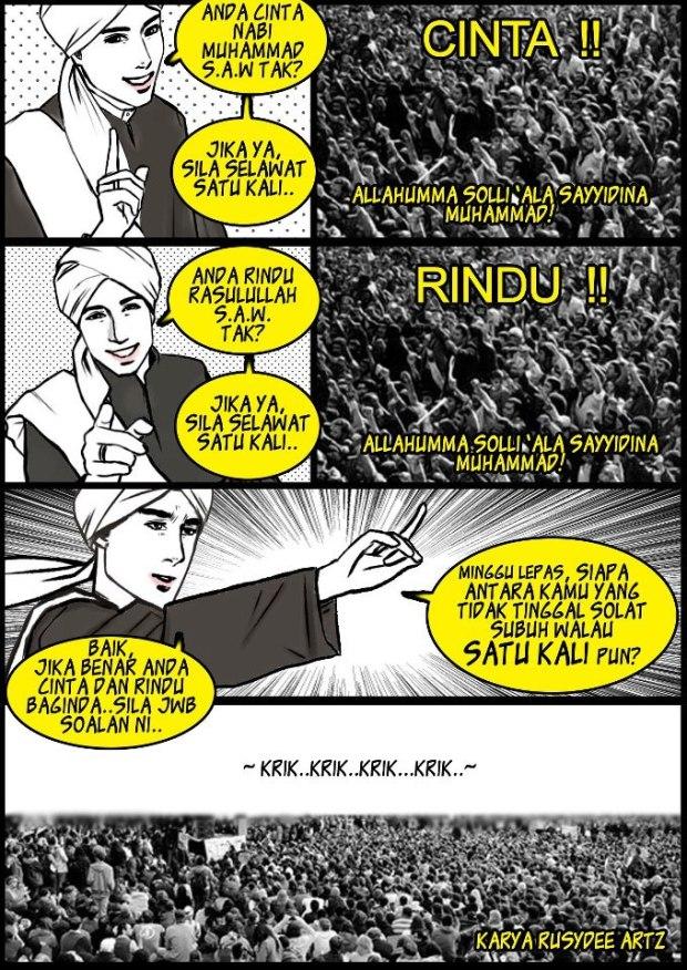 Kartun Dakwah#95 : Cinta terhadap Rasulullah bukan setakat berarak beramai-ramai di jalan. ^^