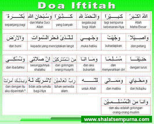 Doa Pembuka Kata Makna Per Kata Doa Iftitah